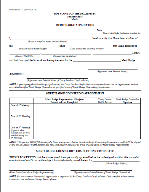 "bsp eagle scout application form Think of your eagle scout service project as the ultimate ""application phase"" of  what you  individual pages or forms within the workbook as long as they are not ."